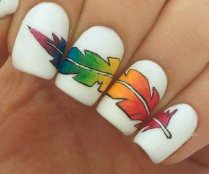 nails, feather, and nail art image