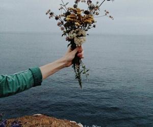 flowers, sea, and vintage image