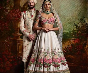 florals, indian wedding, and wedding couture image