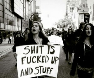 black and white, grunge, and protest image