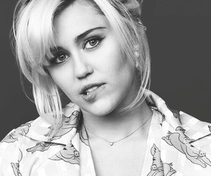 miley cyrus and black and white image