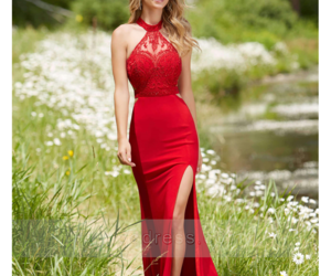prom dress, red prom dress, and split front prom dress image