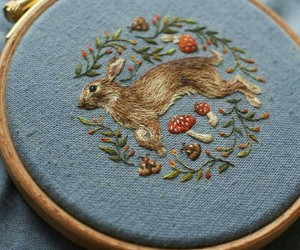 bunny, embroidery, and traditional image