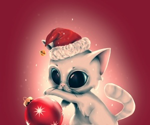 cat, red, and christmas image