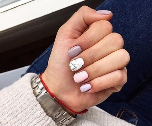 girly, manicure, and marble image