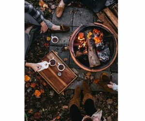 leaves, autumn, and campfire image