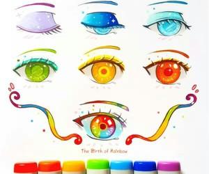 eyes, rainbow, and art image