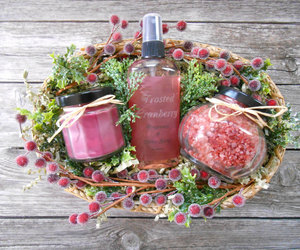 bath salts, berry basket, and etsy image