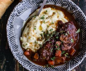 sage, mashed potato, and coq au vin image