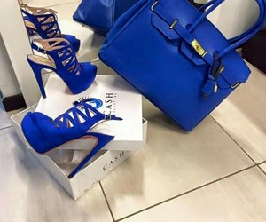 shoes, bag, and blue image