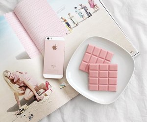 pink, chocolate, and iphone image