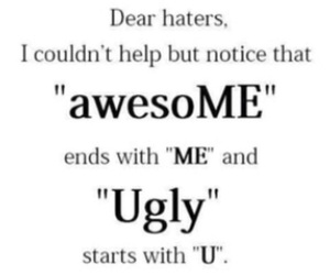 ugly, awesome, and haters image
