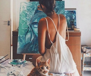 artist, cat, and creative image