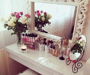 flowers, mirror, and room image