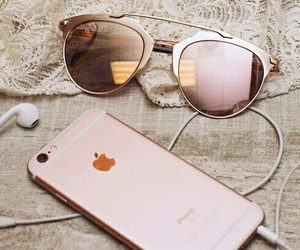 iphone, sunglasses, and apple image