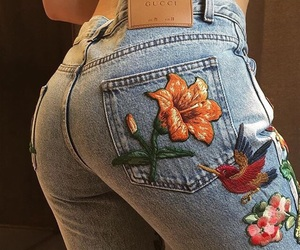 aesthetic, denim, and flowers image