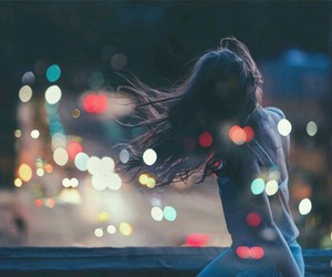 lights, girl, and night image