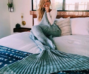 mermaid, girl, and bed image