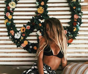 girl, flowers, and peace image