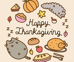 thanksgiving, pusheen, and food image