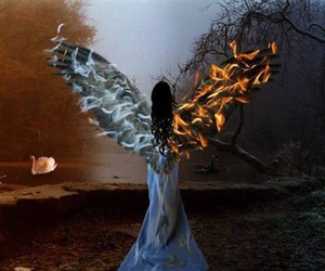 fire, angel, and wings image