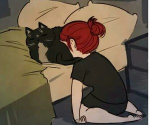 cat, bed, and sad image