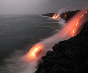 nature, ocean, and volcano image