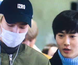 airport, black hair, and blond image