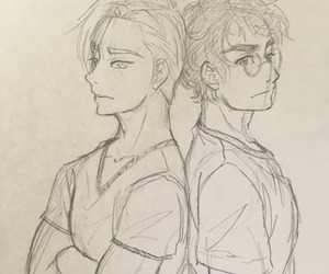 angry, draco malfoy, and harry potter image