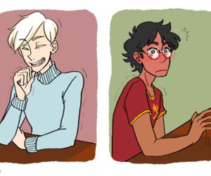 blush, draco malfoy, and harry potter image