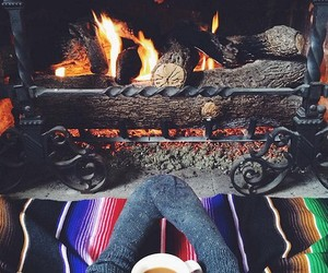winter, coffee, and fire image