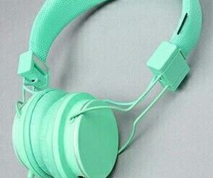 headphones, mint, and mint green image
