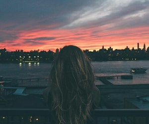 girl, sunset, and city image