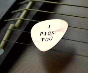 love, guitar, and pick image