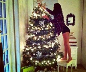 christmas, girl, and tree image
