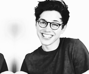 actor, b&w, and glasses image