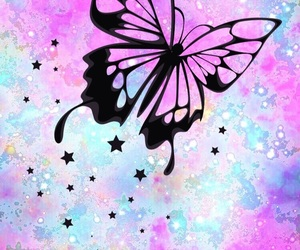 background, butterfly, and stars image