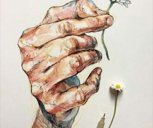 art, hands, and flowers image