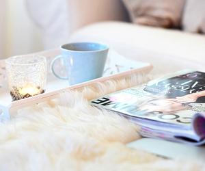 magazine, candle, and tea image
