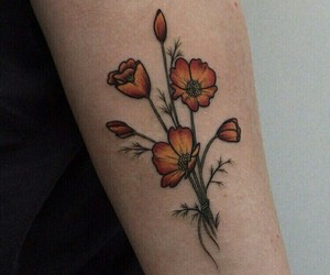 tattoo, flowers, and tatoo image