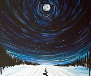 moon, art, and snow image