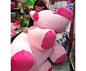 flawless, pink pig, and big plush pig cute image