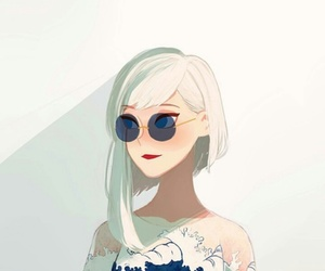 anime, blue, and white image