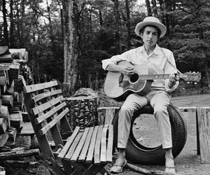 black and white, bob dylan, and guitar image
