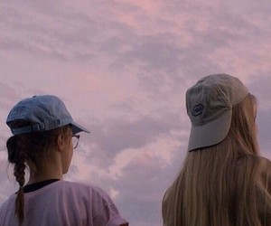girl, pink, and sky image