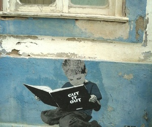 blue, book, and boy image