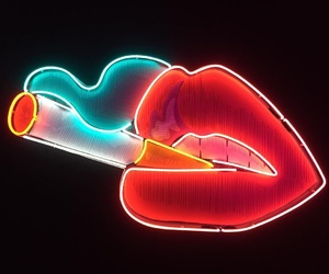 lips, neon, and cigarette image