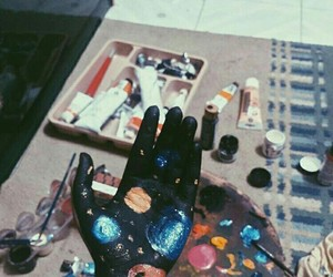 galaxy, hand, and sky image