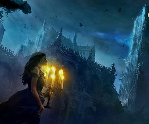 castle, girl, and night image