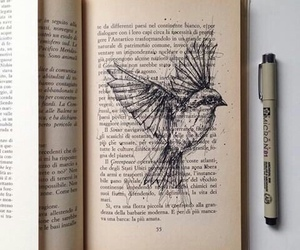 book, bird, and art image